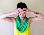 Green Infinity Scarf - Lightweight Knitted Sweater Scarf - Handmade Electric Winter Green Infinity Loop Scarf