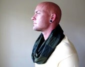 Mens Infinity Scarf - Striped Infinity Loop Scarf - Olive Green, Black Stripes - Eco Friendly