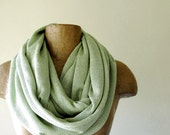 Mint Green Sweater Scarf - Chunky Infinity Knit Scarf - Iridescent Circle Scarf - Eternity Scarf, Fall Scarf, Winter Scarf