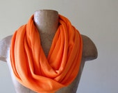 Orange Infinity Scarf - Cotton Jersey Circle Scarf - Medium Weight Loop Scarf Cowl