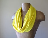 Yellow Infinity Circle Scarf - Canary Yellow Infinity Scarf - Lightweight Handmade Scarves