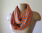 Striped Infinity Scarf - Lightweight Handmade Cotton Jersey Circle Scarf - Orange and Heather Gray Stripes