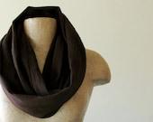 Lightweight Gauze Scarf - Chocolate Brown Cotton Crinkle Infinity Loop Scarf - Handmade Scarves