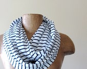Striped Infinity Scarf - Nautical Infinity Loop Scarf - White, Navy Blue Cotton Jersey Stripes - Lightweight