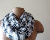 Long Striped Scarf - Slate Gray, Stone White Stripes - Lightweight Striped Jersey Cotton Scarf