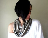 Striped Infinity Scarf - Handmade Infinity Loop Scarf - Brown and White Stripes - Lightweight Scarves