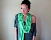 Long Green Scarf - Lightweight Spring Green Jersey Scarf - Eco Friendly Jersey Scarf