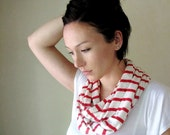 Striped Infinity Scarf - Lightweight Infinity Loop Scarf - Handmade Red and White Peppermint Stripes Scarf