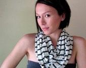 Gray Stripes Infinity Scarf - Handmade Striped Infinity Loop Scarf - Heather Gray, Charcoal Gray Stripes