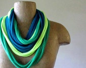 Cotton Scarf Necklace - Teal, Green, Neon Yellow - Upcycled Jersey Cotton Scarf Necklace - Eco Friendly