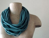 Muted Teal Green Scarf Necklace - Upcycled Cotton Jersey Infinity Scarf - Eco Friendly Loop Scarves