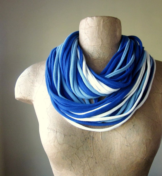 THE STANDARD cotton jersey scarf necklace in blue &white