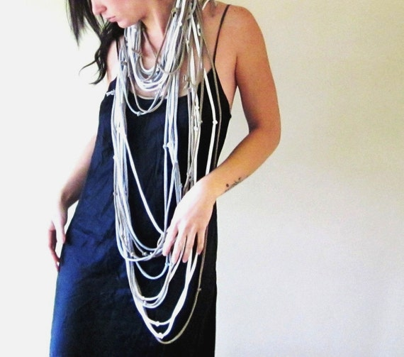 Closeout Sale - Statement Scarf Necklace - Upcycled Cotton Jersey Scarf - Tan, White, Heather Gray T Shirt Scarf