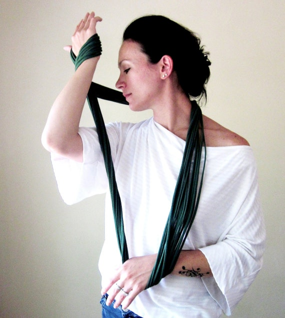 Extra Long Scarf - Forest Green Skinny Scarf Necklace - Upcycled Jersey Cotton Fabric Necklace