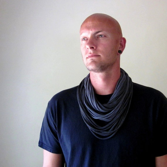 Cotton Infinity Scarf necklace - Shades of Gray - Mens Scarf - Eco Friendly