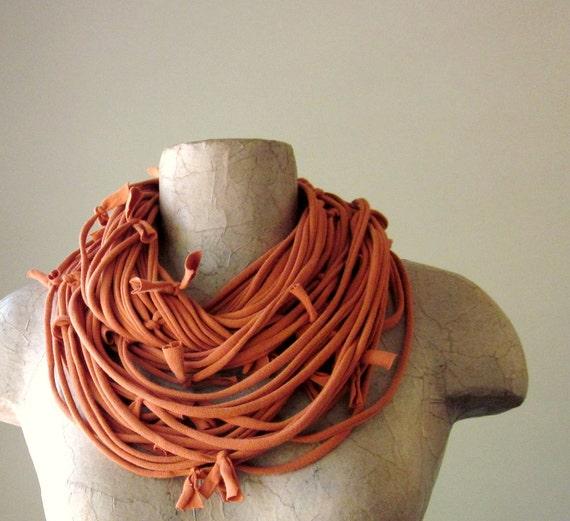 Shag Scarf Necklace - Eco Friendly Burnt Orange Jersey Cotton Fabric Necklace - Upcycled