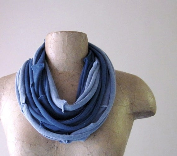 SEAMS cotton scarf necklace in muted blue and light denim blue jersey - by EcoShag