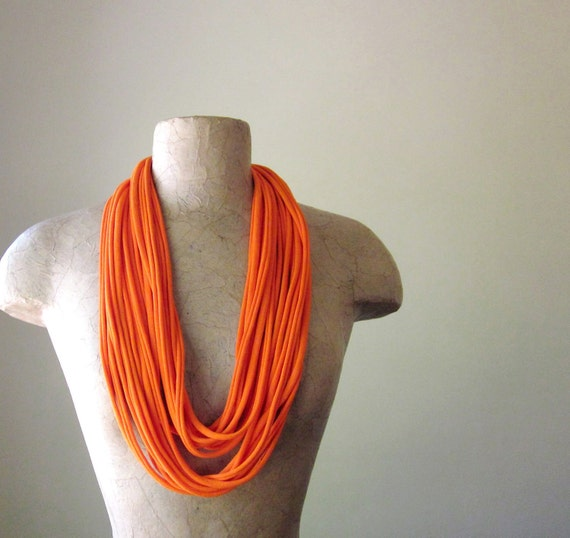 Tangerine Skinny Scarf - Long Summer Scarf Necklace - Upcycled Jersey Cotton Fabric Necklace