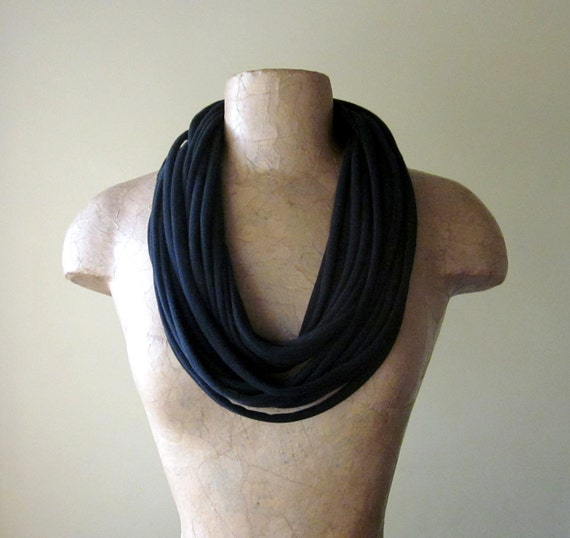 Black Scarf Necklace - Upcycled Cotton Jersey - Eco Friendly Scarf