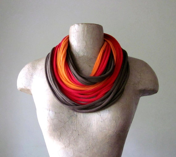STANDARD cotton scarf necklace in brown, red and tangerine jersey - by EcoShag