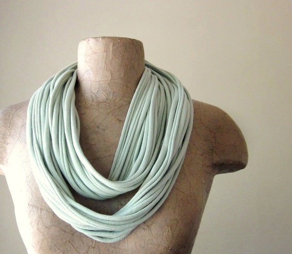 Pale Sage Green Scarf Necklace - Upcycled Cotton Jersey Infinity Scarf - Eco Friendly Statement Wear