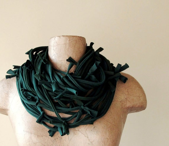Shag Scarf Necklace - Forest Green Eco Friendly Jersey Cotton Fabric Necklace - Upcycled Tshirt Scarf
