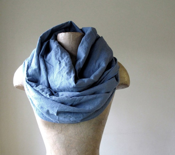 Long Linen Scarf - Slate Blue Eco Friendly Linen - Oversized Chunky Scarves