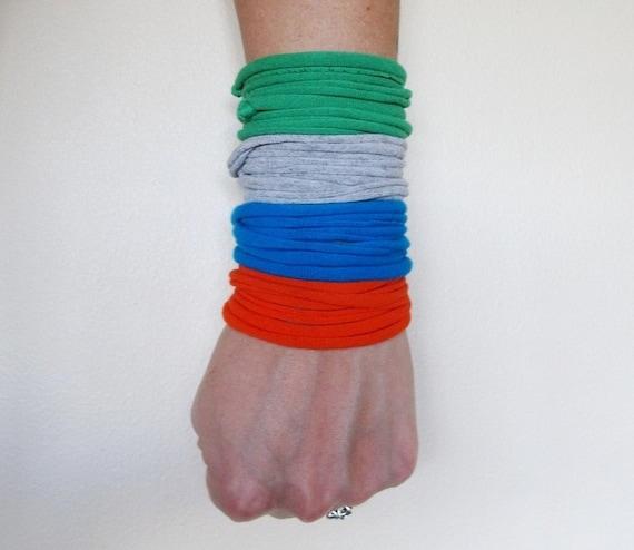 Fabric Bracelets - Eco Friendly Cotton Jersey Cuff Bracelets - Tangerine, Heather Gray,  Blue, Green