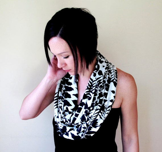 Abstract Nature Infinity Scarf - Black and White Lightweight Cotton Jersey - Artistic Print Loop Scarf