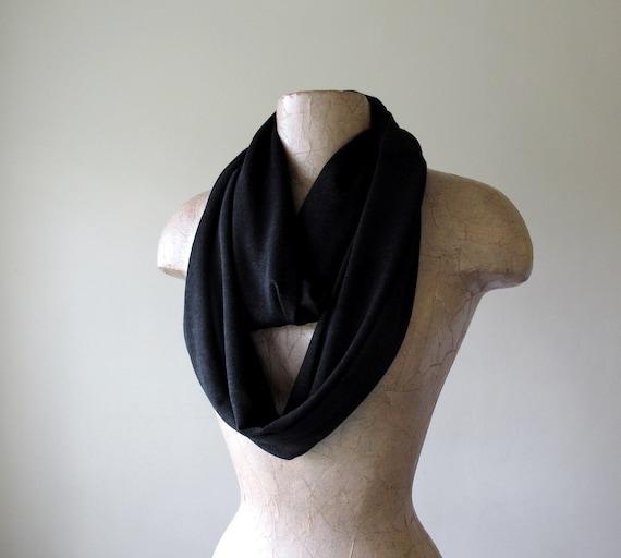 Black Infinity Scarf - Heather Black Jersey Cotton Circle Scarf - Handmade Black Loop Scarves