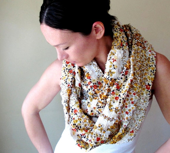 Funky Infinity Scarf - Retro Floral Pattern Motif - Handmade Wrinkle Circle Scarf - Orange Brown Yellow