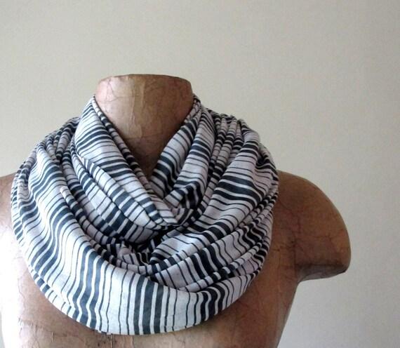 Long Striped Scarf - Slate Gray, Stone White Stripes - Lightweight Striped Jersey Cotton Scarf