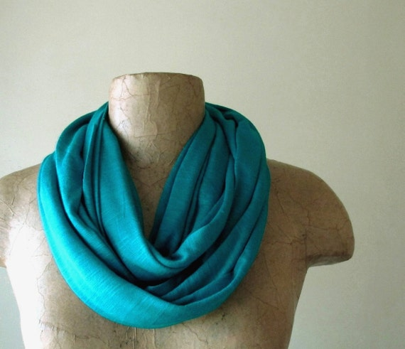 Teal Infinity Scarf - Lightweight Cotton Jersey Slub Circle Scarf - Infinity Cowl Scarf - Eco Friendly Loop Scarf