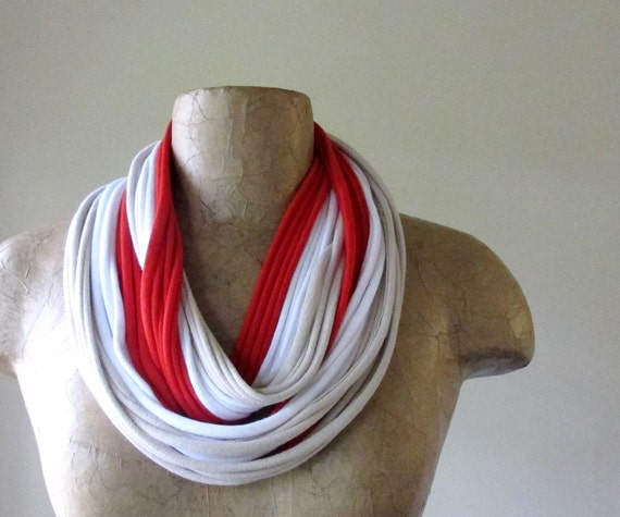 Scarf Necklace - Red, White, Beige Cotton Scarf Necklace - Upcycled Fabric Necklace