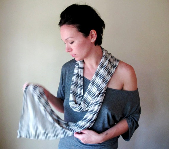 Skinny Scarf - Lightweight Striped Cotton Jersey Scarf - Slate Gray Stone White Stripes