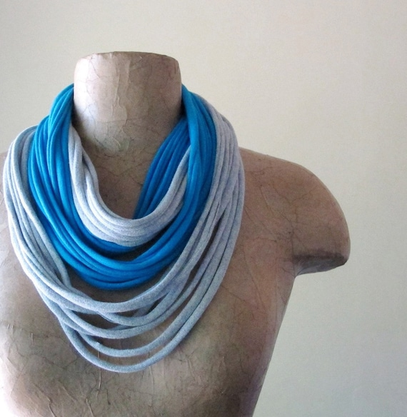 Upcycled T Shirt Scarf - Eco Friendly Scarf Necklace - Jersey Cotton Scarf - Aqua Blue, Heather Gray