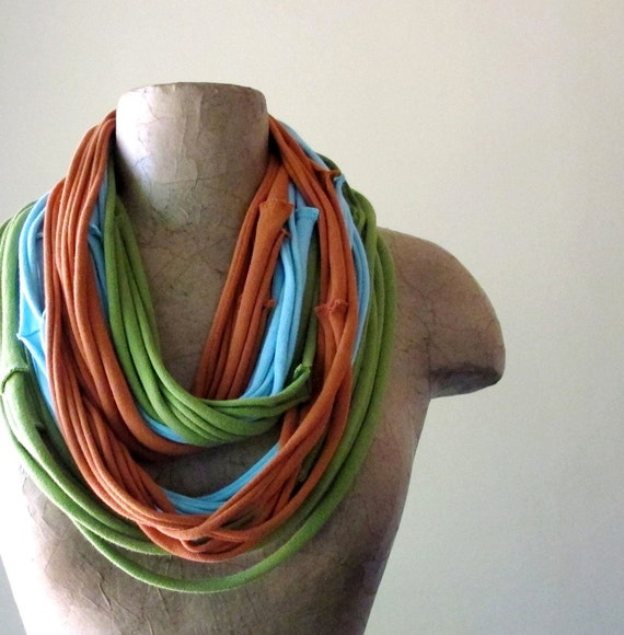 Scarf Necklace - Upcycled Jersey Cotton Scarf - Pea Green, Pale Blue, Carrot Orange