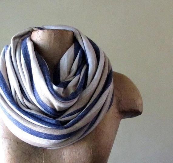 Chunky Infinity Scarf - Oversized Striped Knit Scarf - Chunky Infinity Cowl - Denim Blue, Wheat, Straw - Handmade Scarves