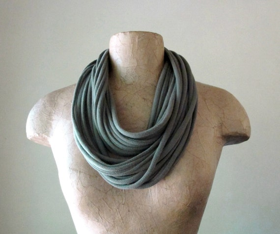 Cotton Scarf Necklace - Eco Friendly Scarves - Jersey Cotton Fabric Necklace - Olive Drab
