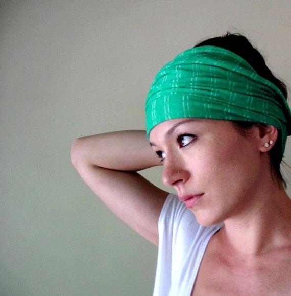 Green Head Scarf - All In One Headband, Hair Wrap, Head Wrap - Womens Neck Bow - Ascot - Fabric Belt, Sash - Cotton Jersey