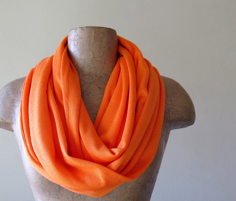 orange infinity scarf cotton jersey circle scarf by ecoshag