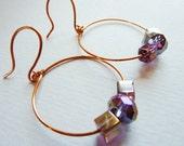 Iridescent Two Toned Amethyst Purple Hoop Dangle earrings
