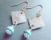 SALE - Hand Stamped and Oxidized Copper Earrings with Silver and Turquoise