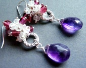 African Violet - African Amethyst Briolette Dangle Earrings With Moonstone and Rose Crystal Accents