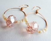 SALE - Beautiful Large Sparkling Pink Swarovski Crystal and Pearl Seed Bead Copper Oval Hoop Earrings