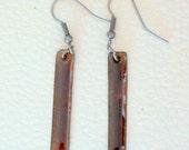 Enamel on copper earrings , dark Brown , long Rectangular