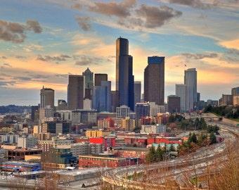 Seattle Skyline at Sunset Photo 8x10