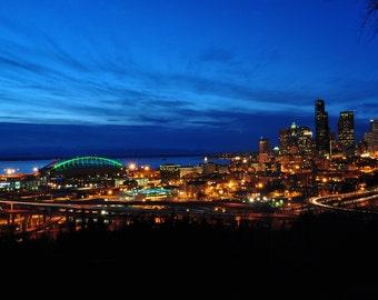 Seattle Night Skyline Photo 8x10