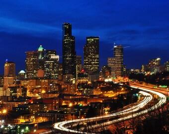 Seattle Skyline at Night Photo 8x10