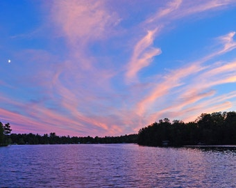 Sunset Over Crooked Lake Photograph 8x10
